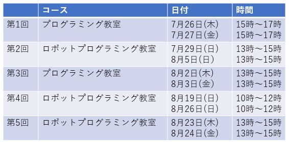 久米川店夏期特別レッスンスケジュール