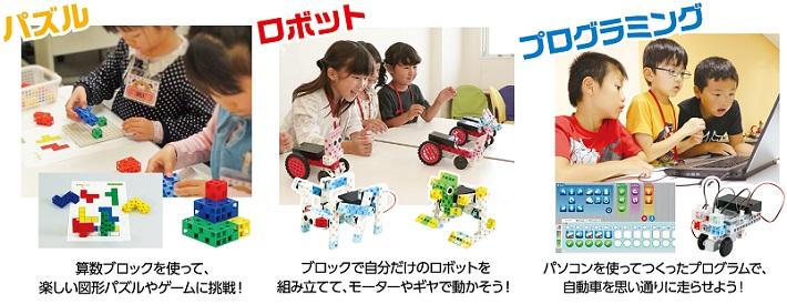 パズル・ロボット・プログラミング3つのカリキュラムイメージ