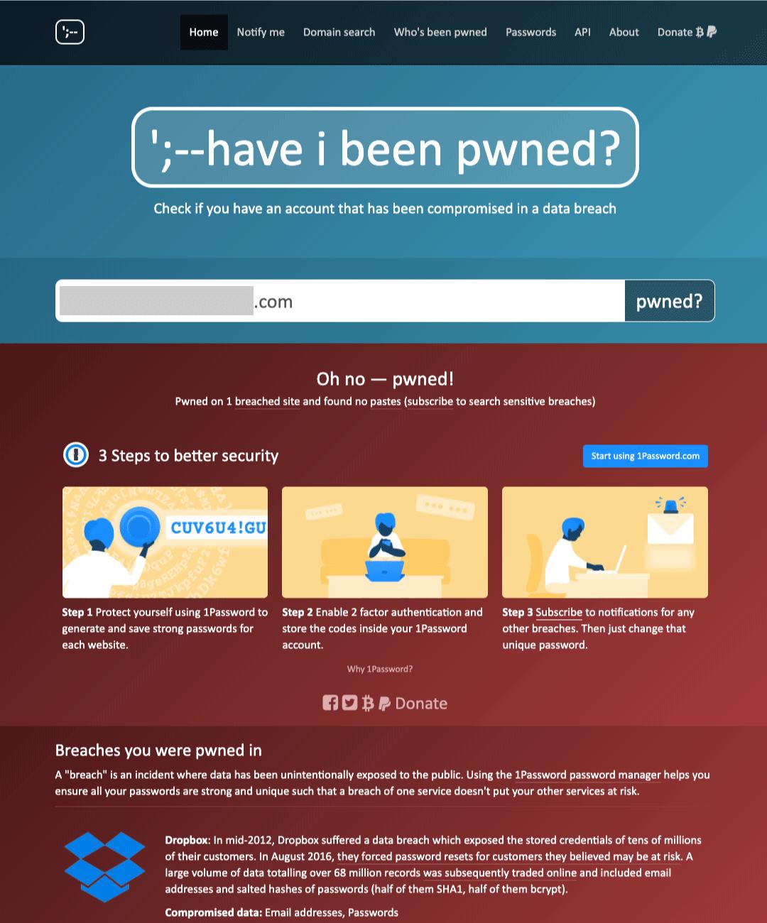have i been pwned メールアドレス入力結果のイメージ(流出あり)